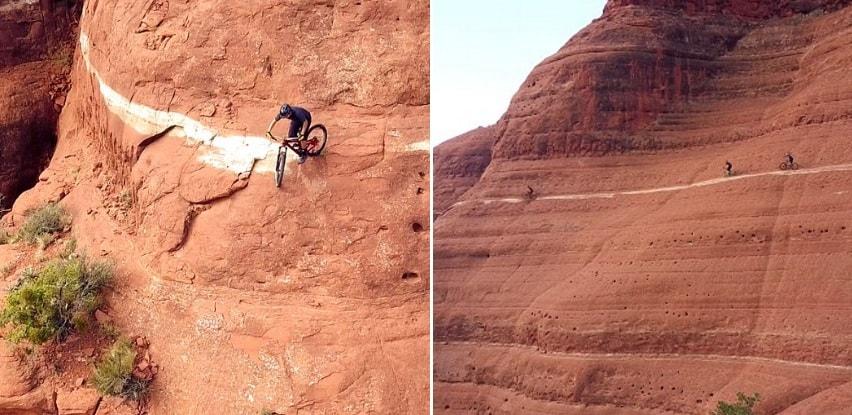 """Ciclistas cruzan """"White Line"""" una de las pistas más peligrosas del planeta"""